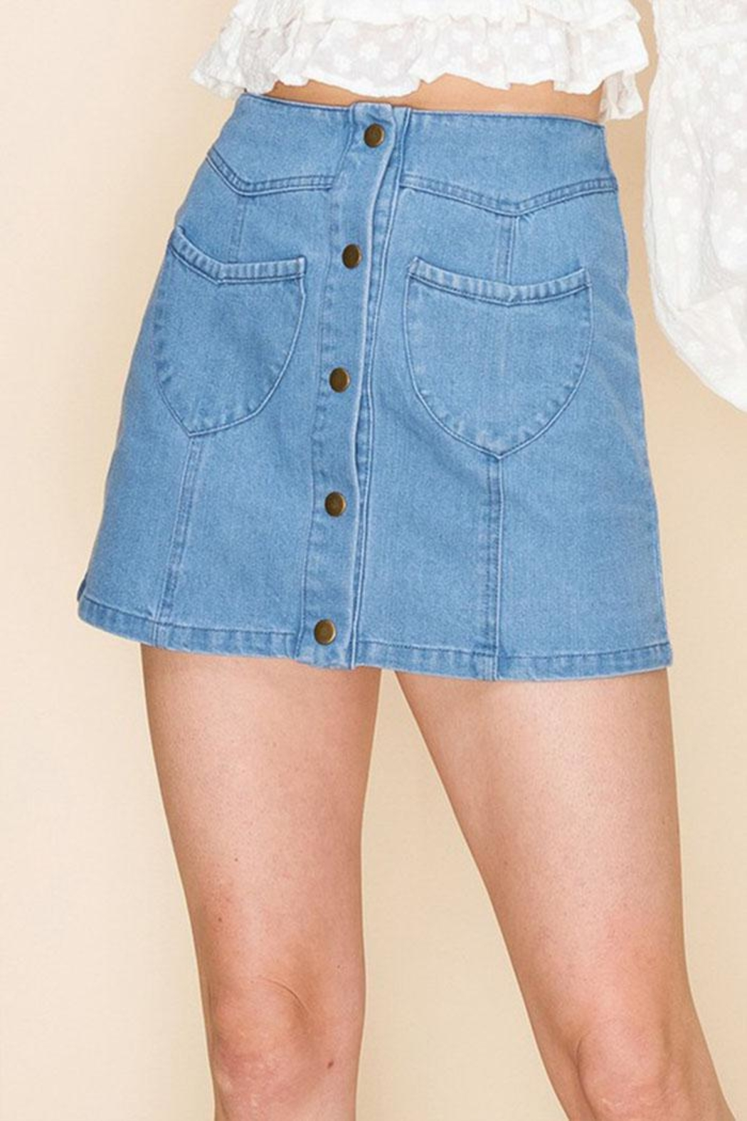 Favlux Button-Up Mini Skirt - Front Cropped Image