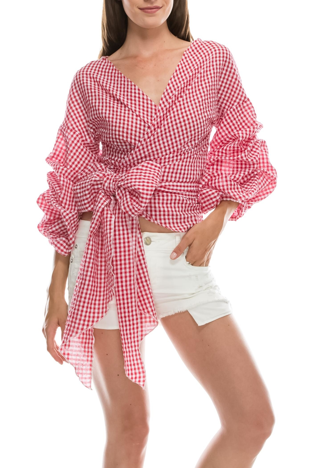 Favlux Check Tie Top - Front Cropped Image