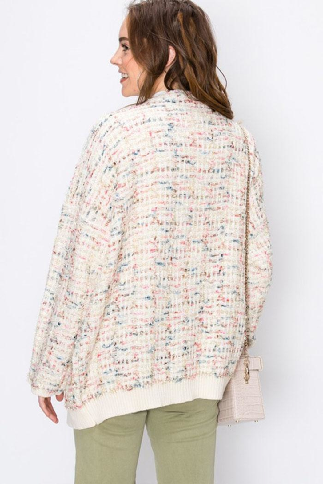 Favlux Colorful Sparkly Cardigan - Back Cropped Image