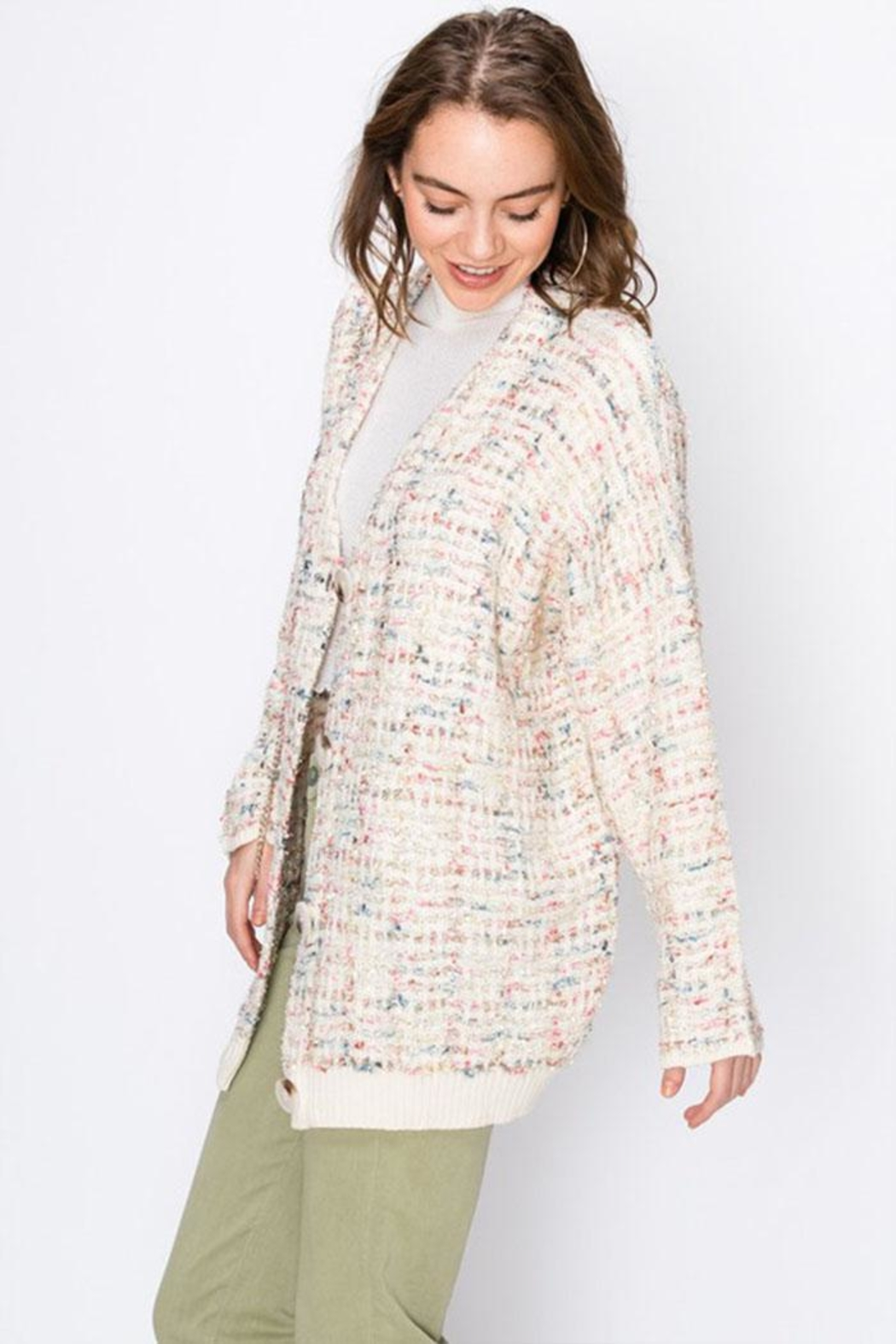 Favlux Colorful Sparkly Cardigan - Side Cropped Image