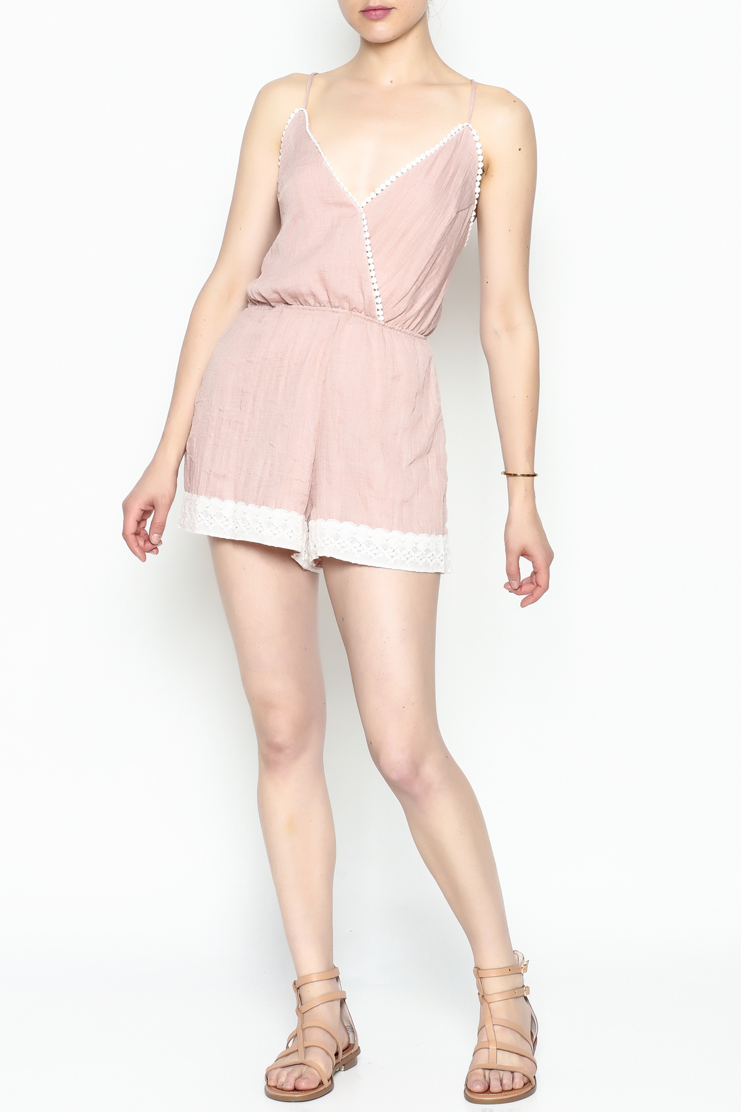 Favlux Crochet Trim Romper - Side Cropped Image
