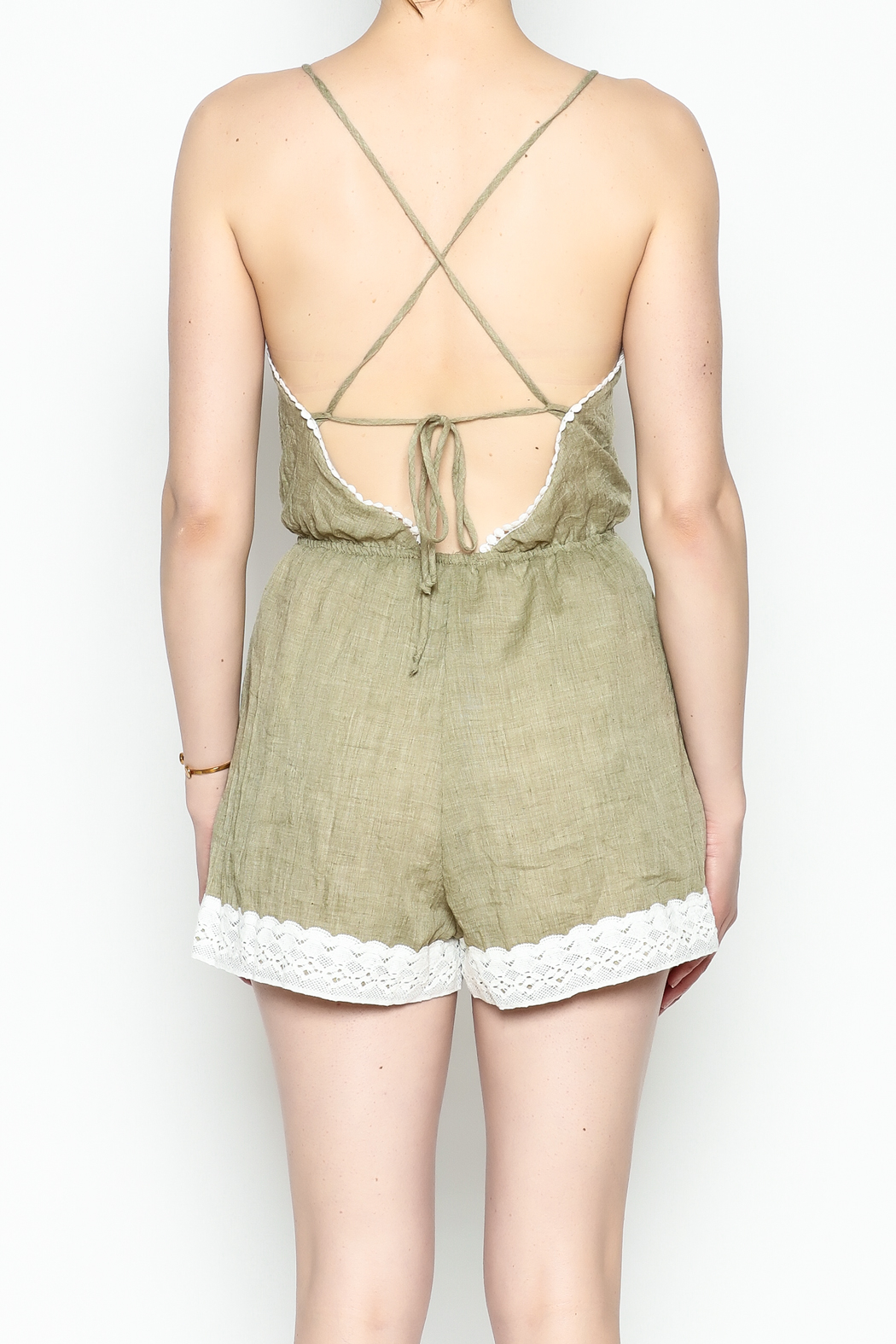 Favlux Crochet Trim Romper - Back Cropped Image