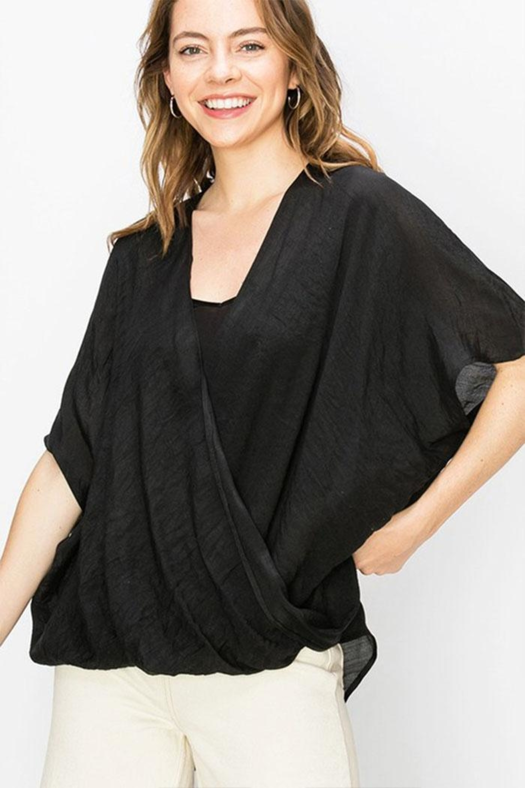 Favlux Crossover Poncho Blouse - Front Cropped Image