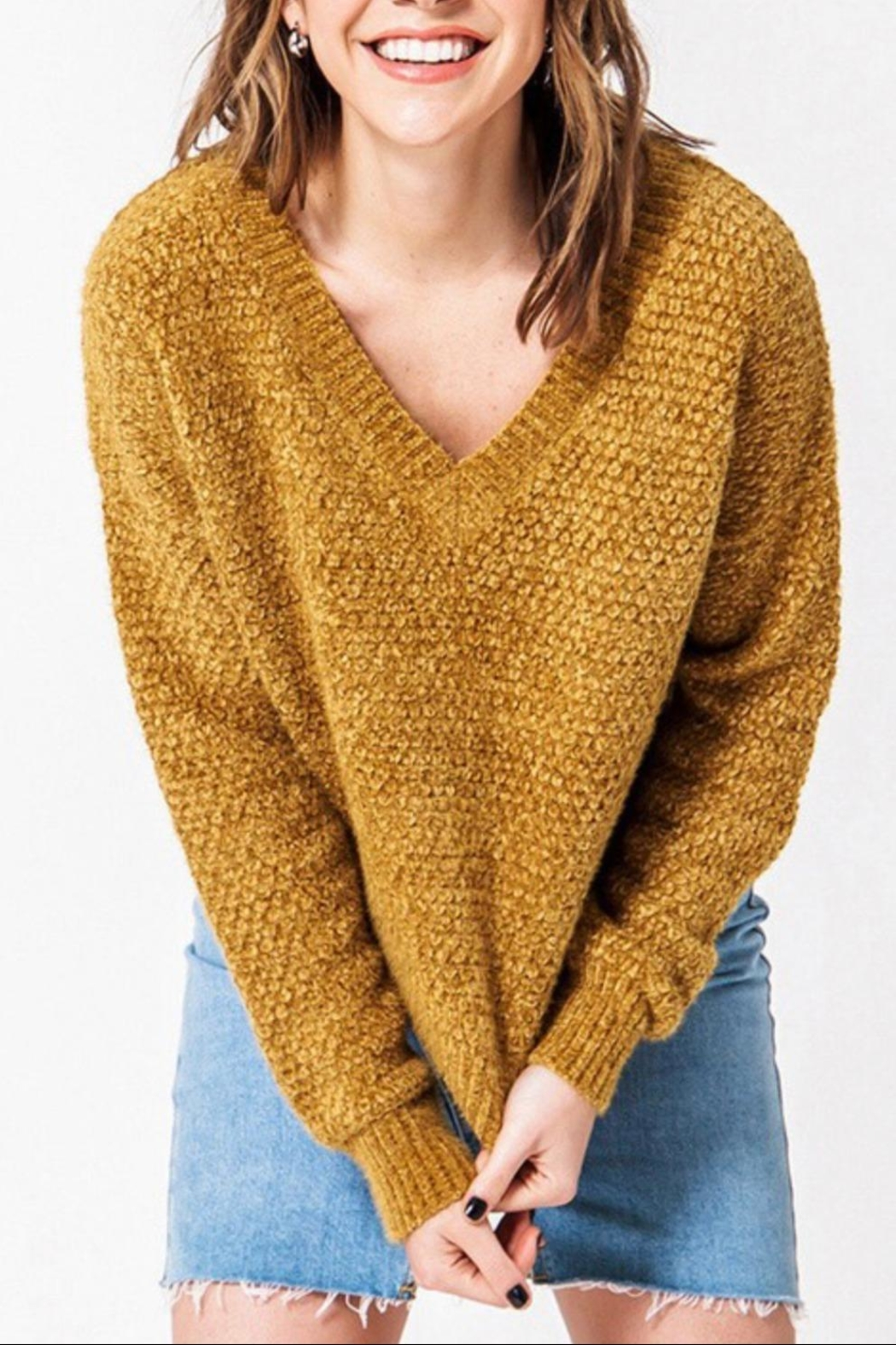 Favlux Drop Shoulder Sweater - Front Cropped Image