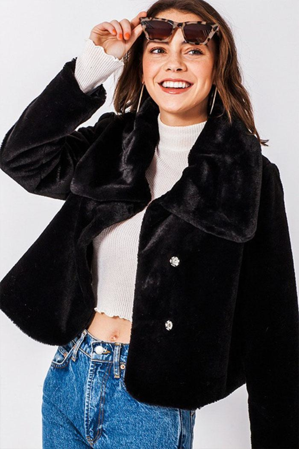 Favlux Faux-Fur Cropped Jacket - Main Image