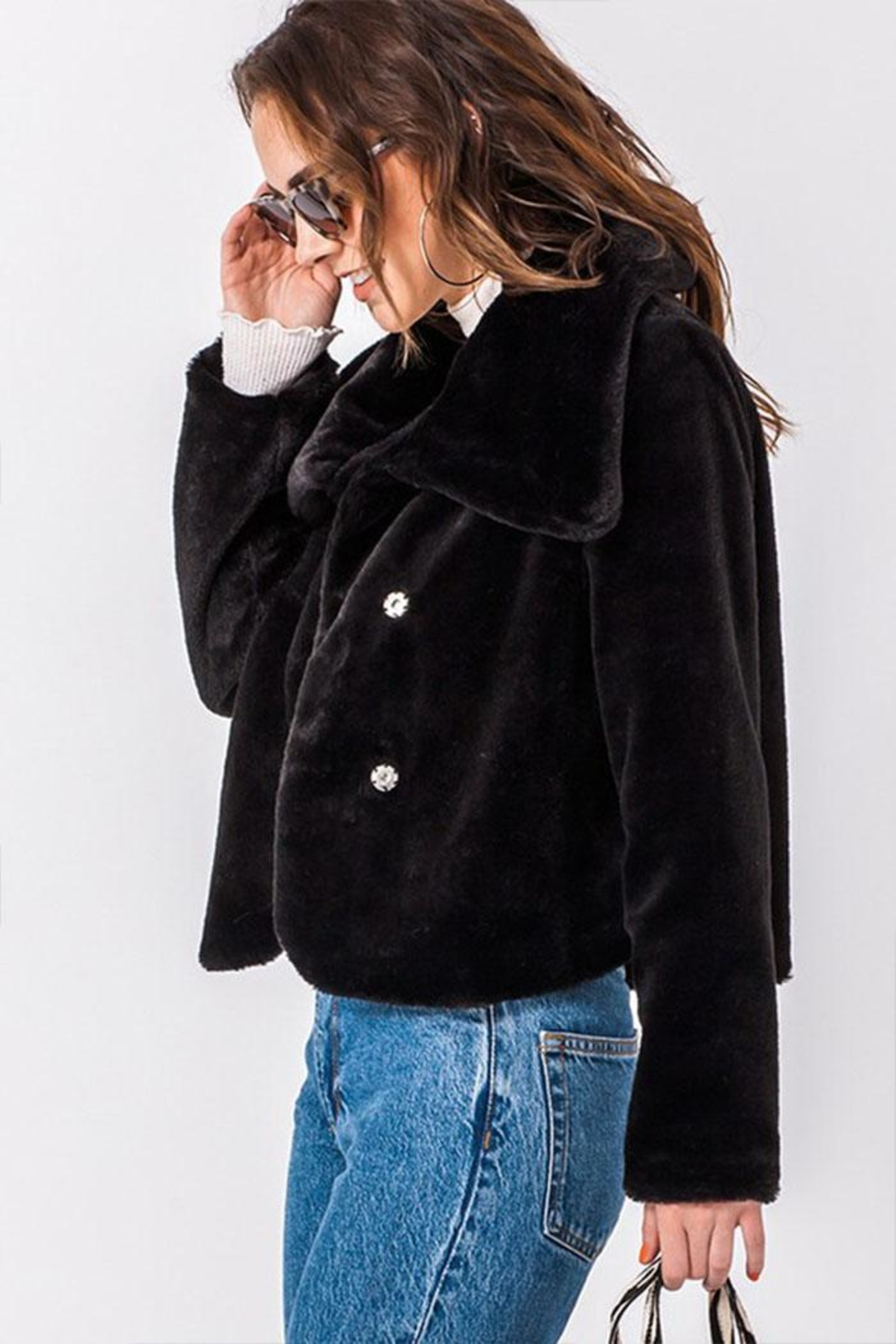 Favlux Faux-Fur Cropped Jacket - Front Full Image