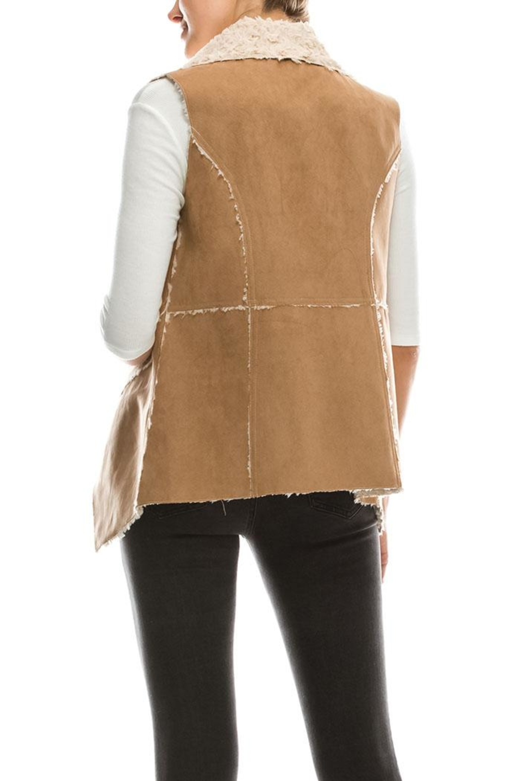 Favlux Faux Fur Vest - Side Cropped Image