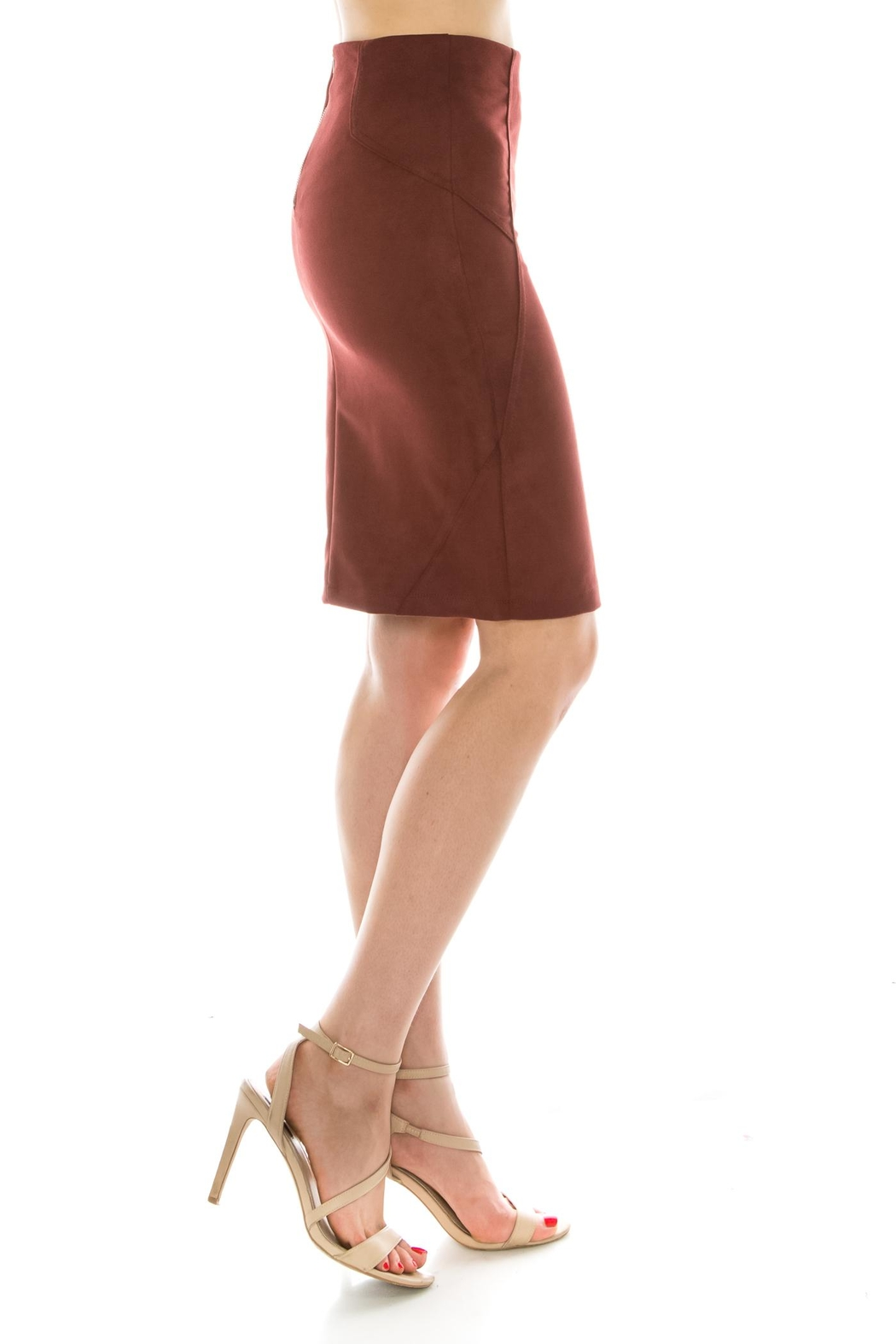 Favlux Faux Suede Skirt - Side Cropped Image
