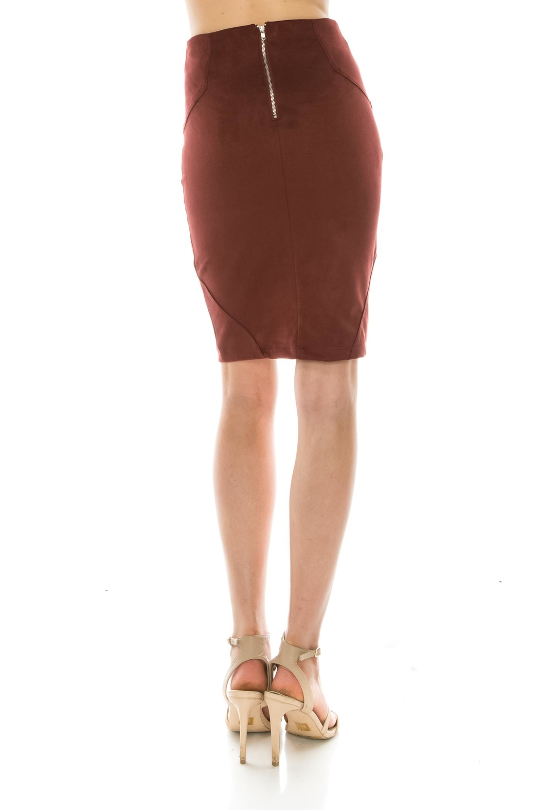 Favlux Faux Suede Skirt - Front Full Image