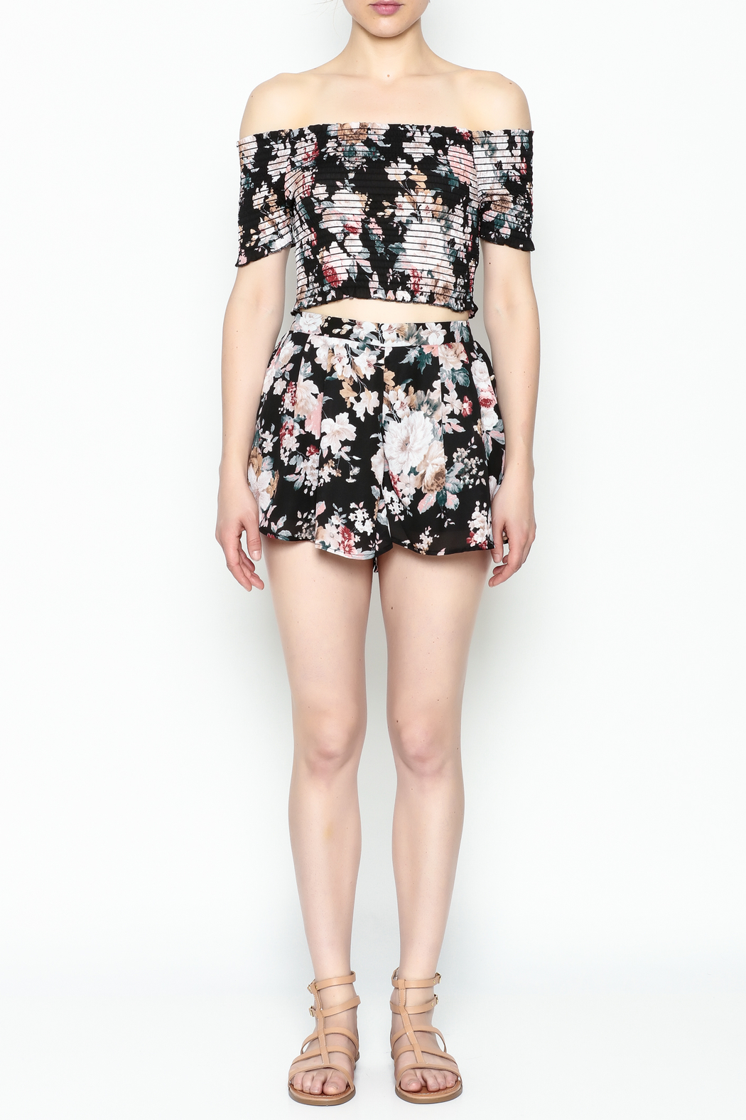 Favlux Floral Print Shorts - Front Full Image