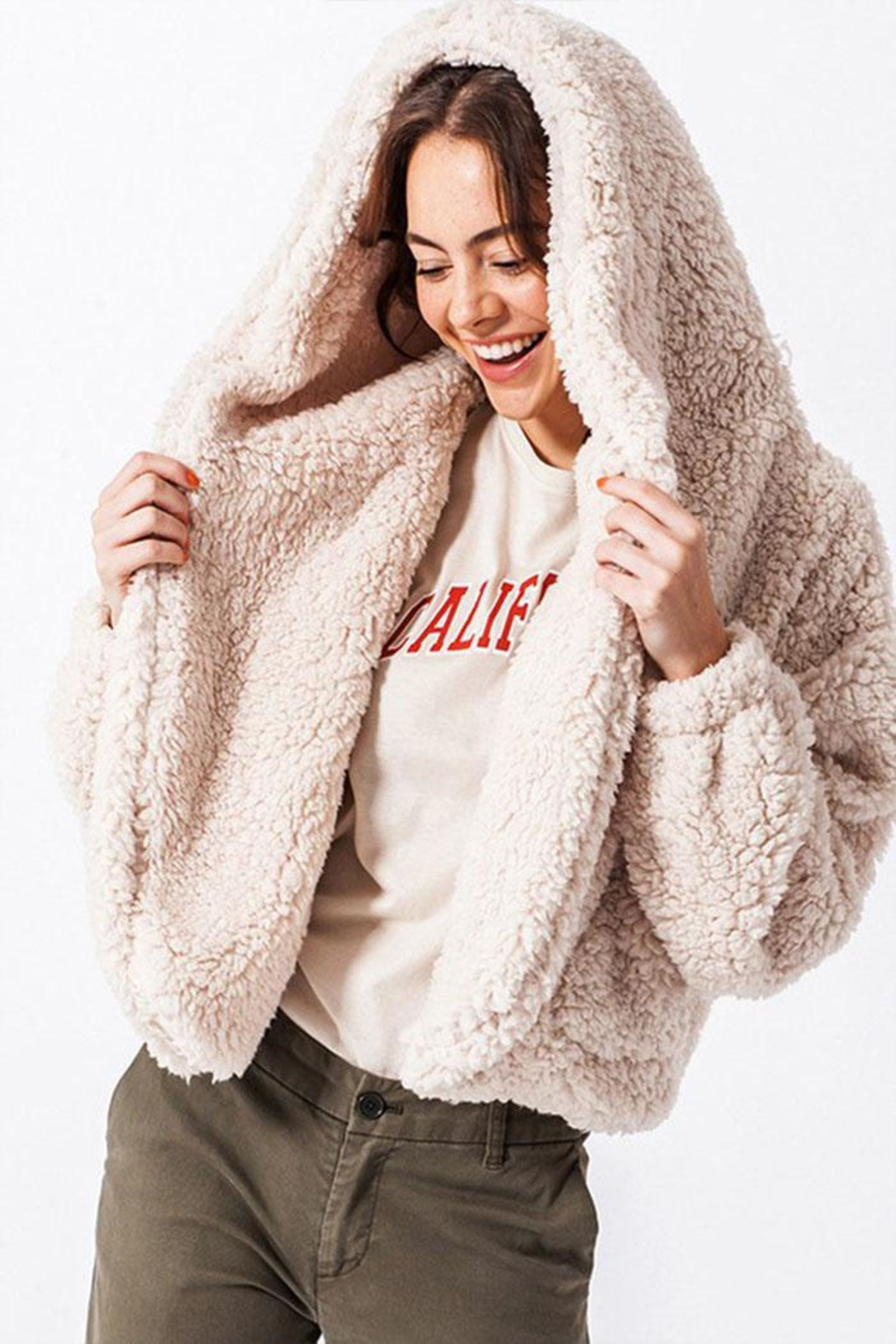 Favlux Hooded Teddy Coat - Main Image