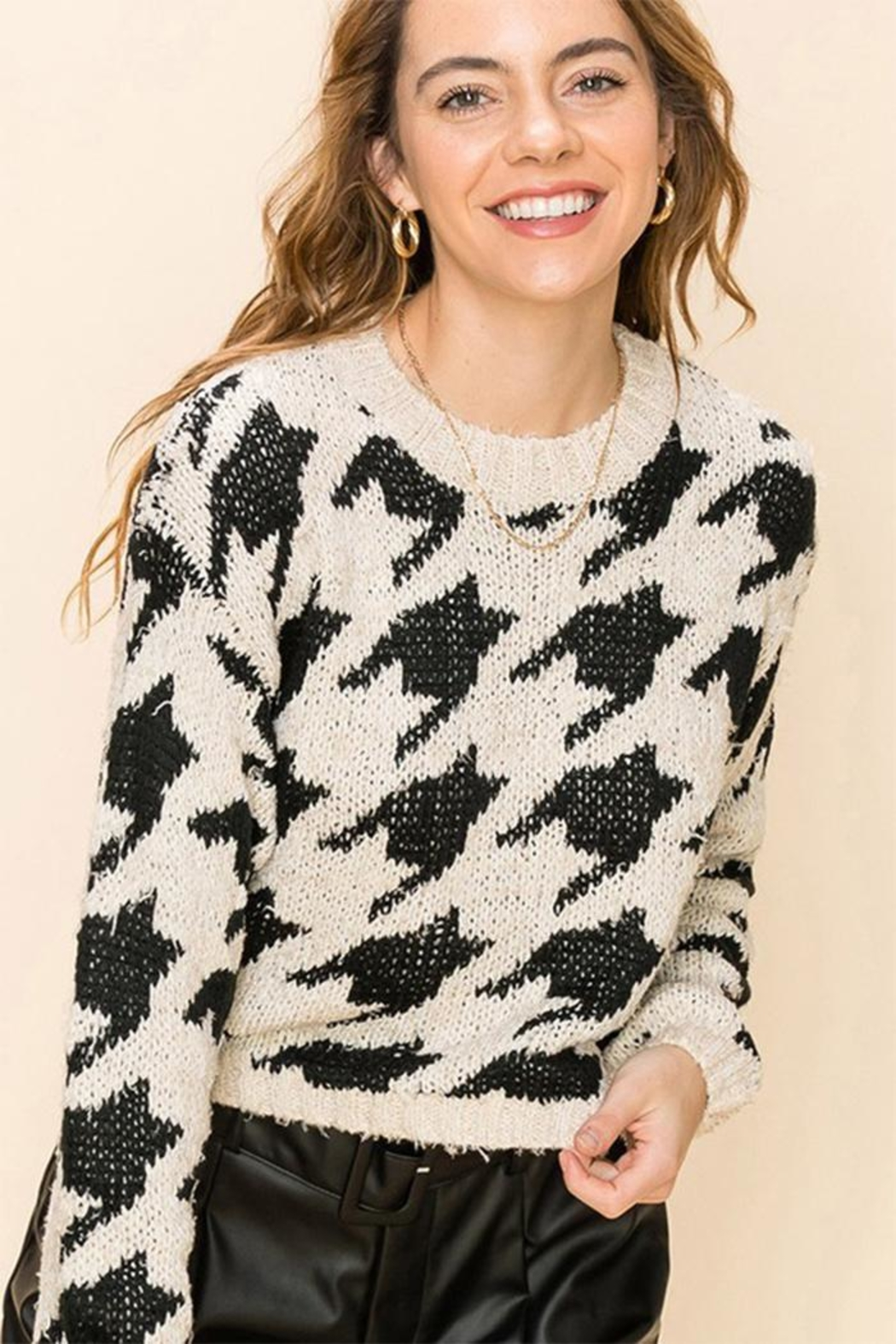 Favlux Houndstooth Crew Sweater - Main Image
