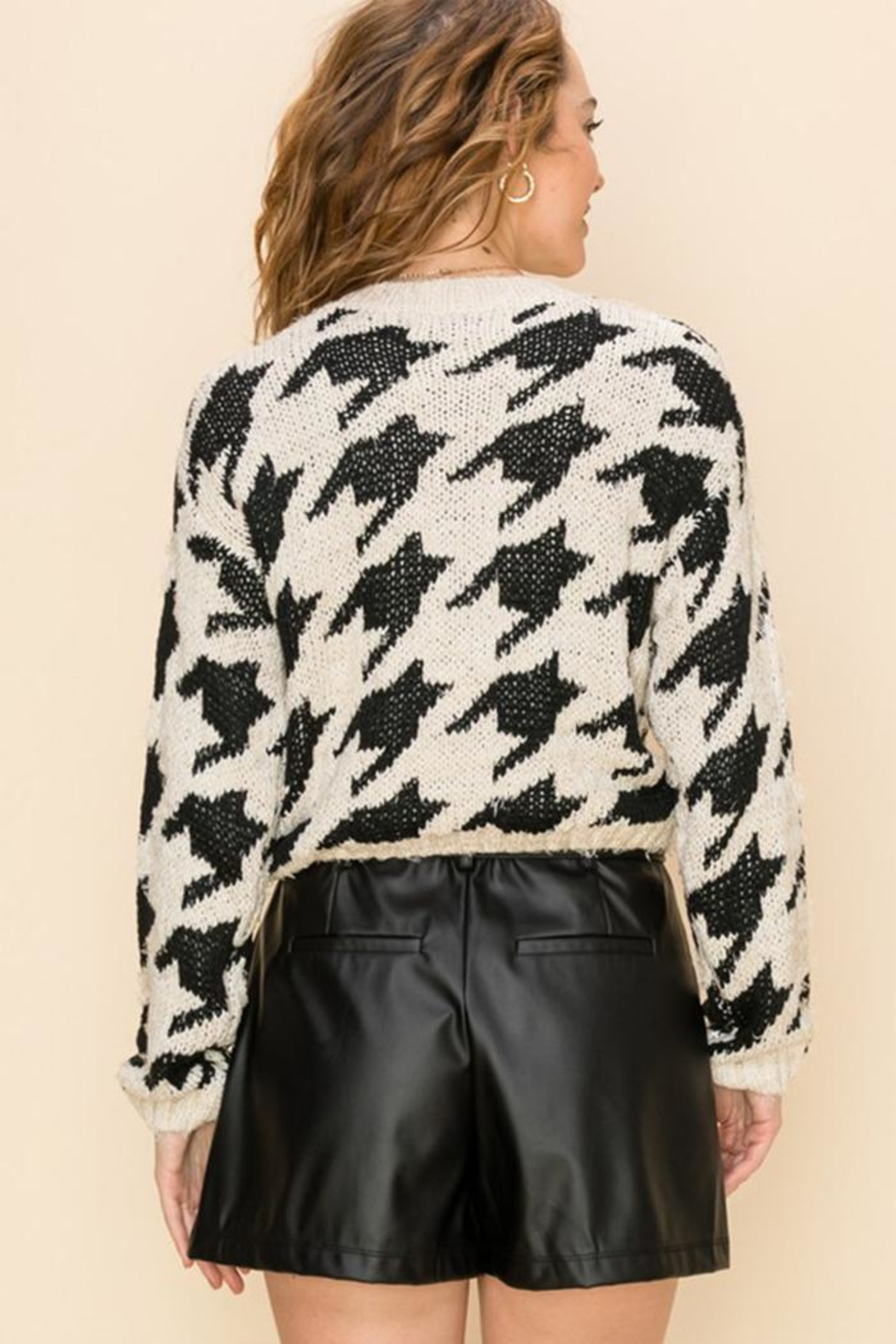 Favlux Houndstooth Crew Sweater - Side Cropped Image