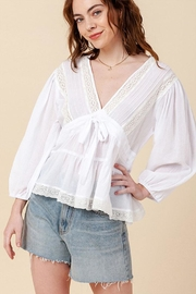 Favlux Lace V-Neck Top - Product Mini Image