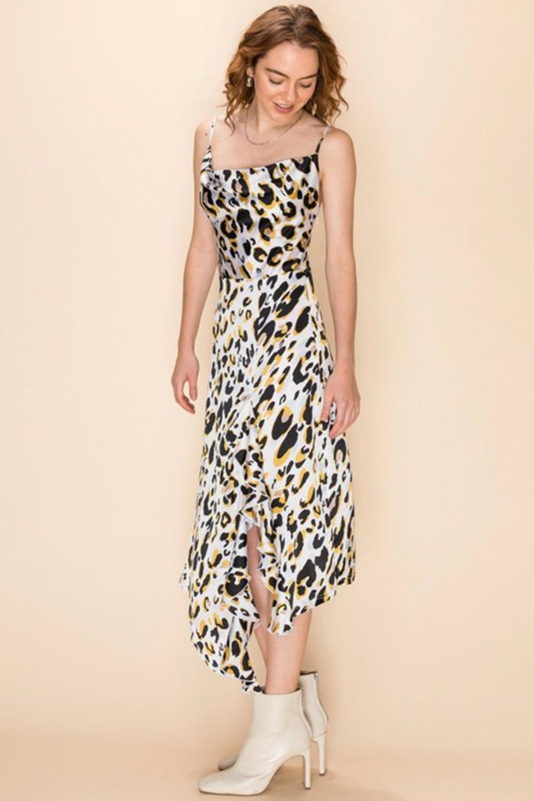 Favlux Leopard Midi Dress - Side Cropped Image