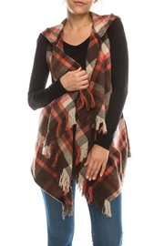 Favlux Plaid Fringe Vest - Product Mini Image