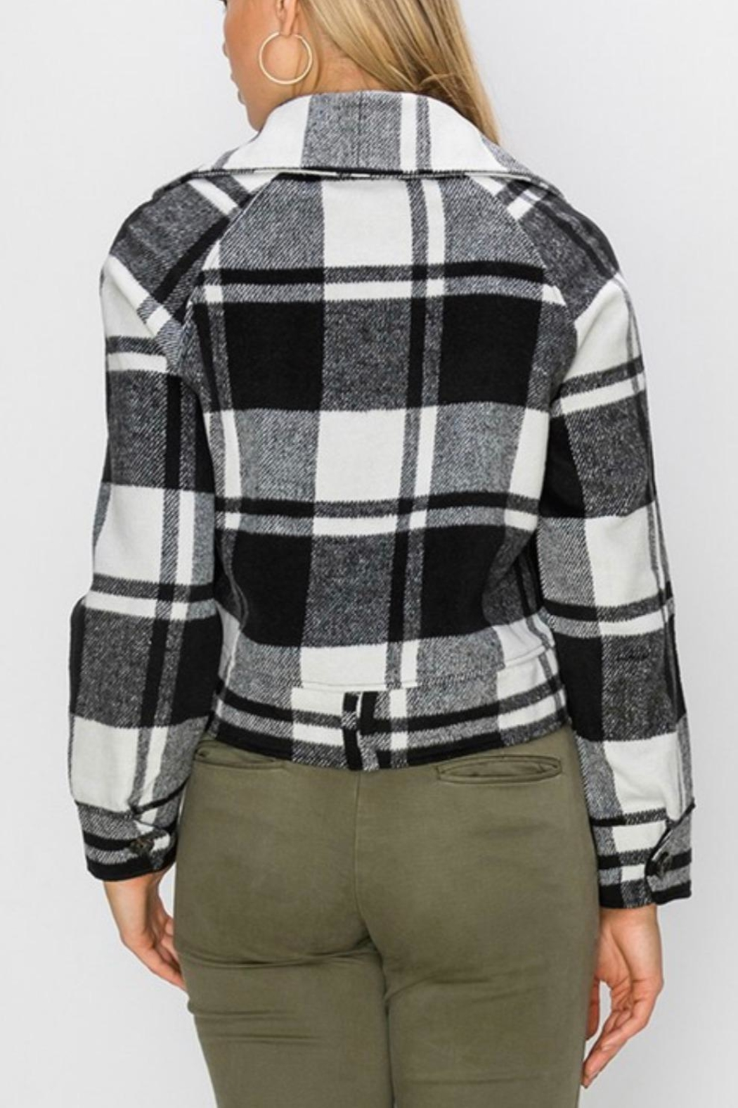 Favlux Plaid Zip-Up Jacket - Side Cropped Image