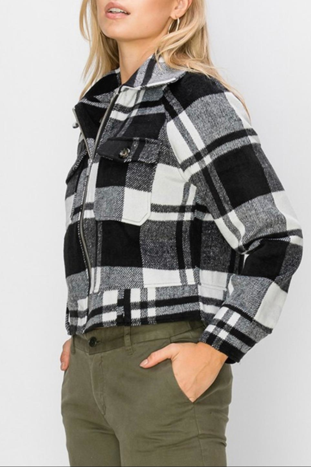 Favlux Plaid Zip-Up Jacket - Front Full Image