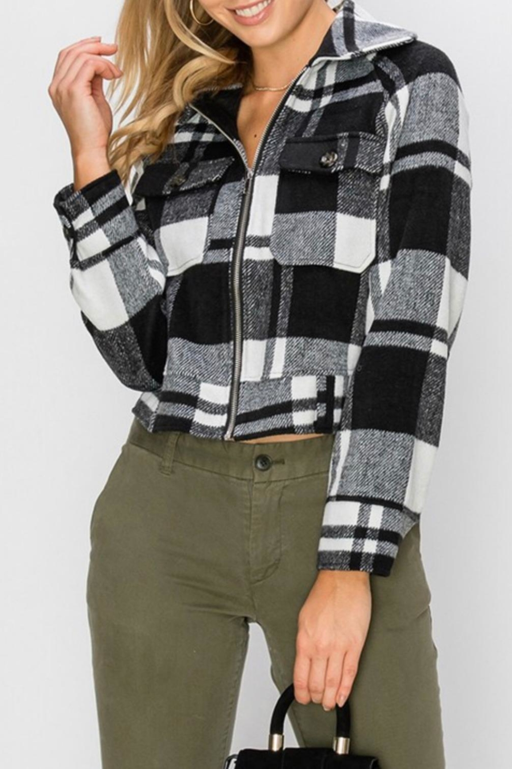 Favlux Plaid Zip-Up Jacket - Main Image