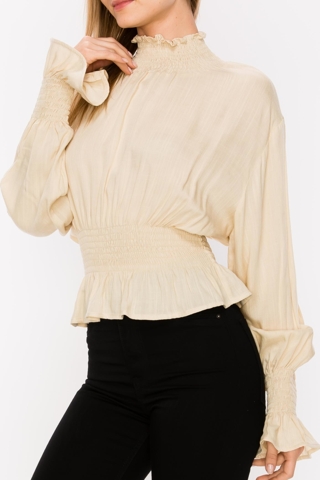 Favlux Pleated Blouse - Front Cropped Image