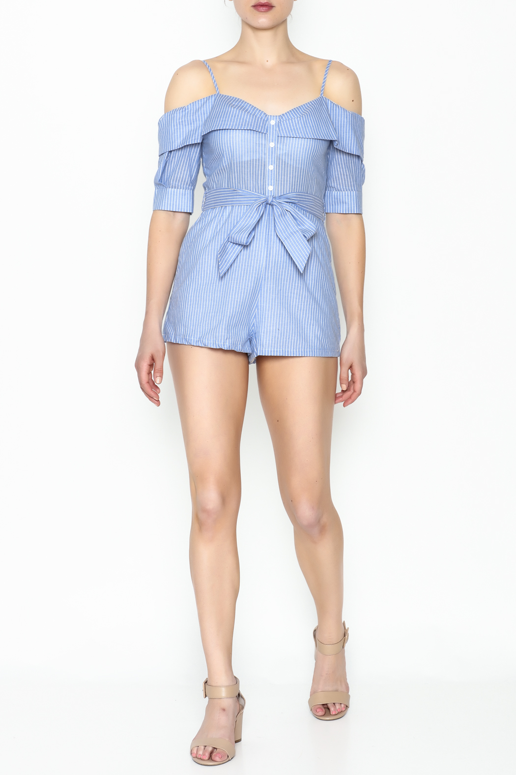 Favlux Striped Romper - Side Cropped Image
