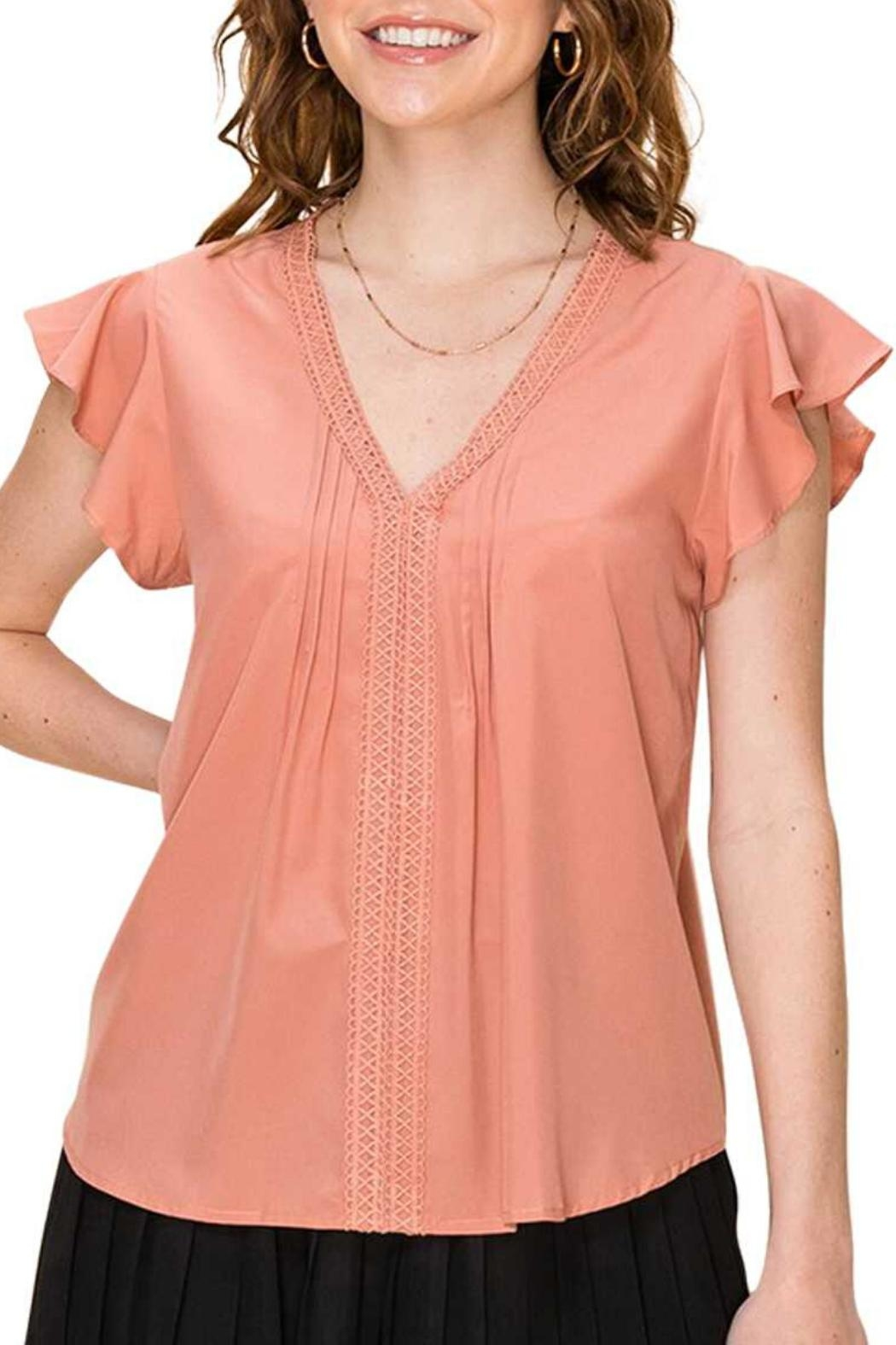 Favlux Peach Pleated Blouse - Main Image