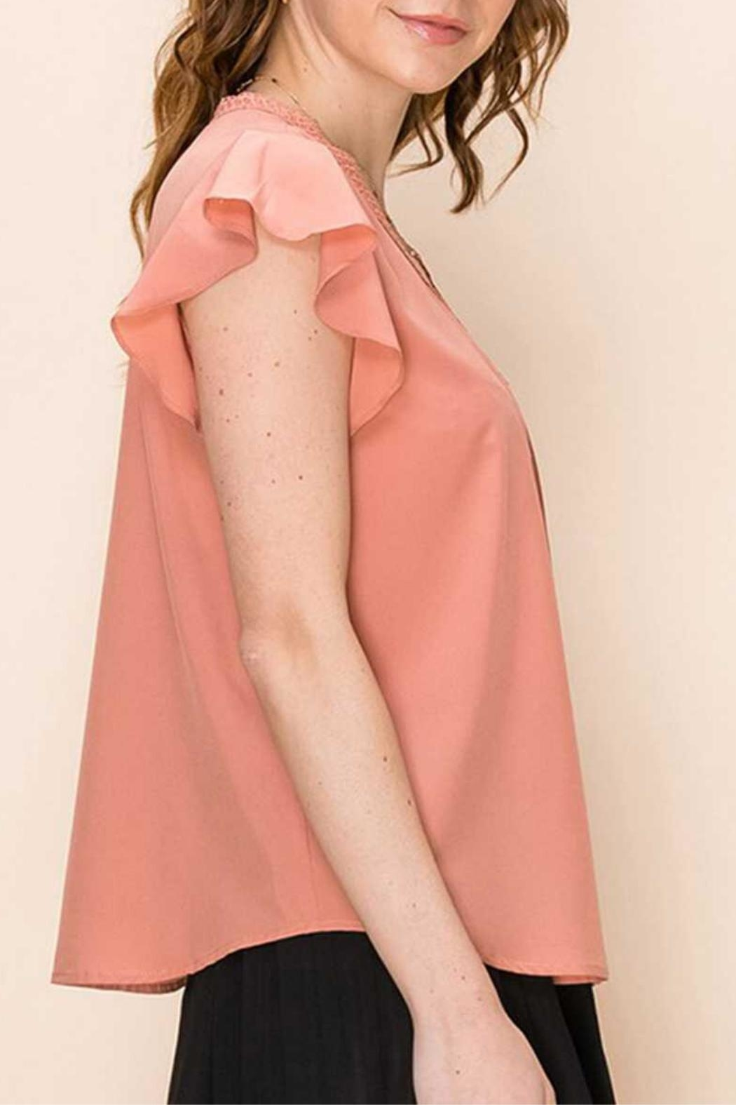Favlux Peach Pleated Blouse - Front Full Image