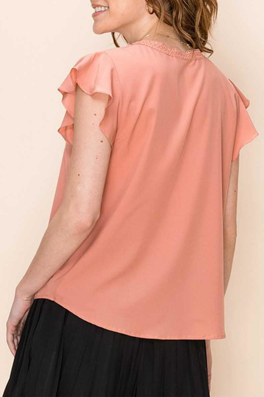 Favlux Peach Pleated Blouse - Back Cropped Image
