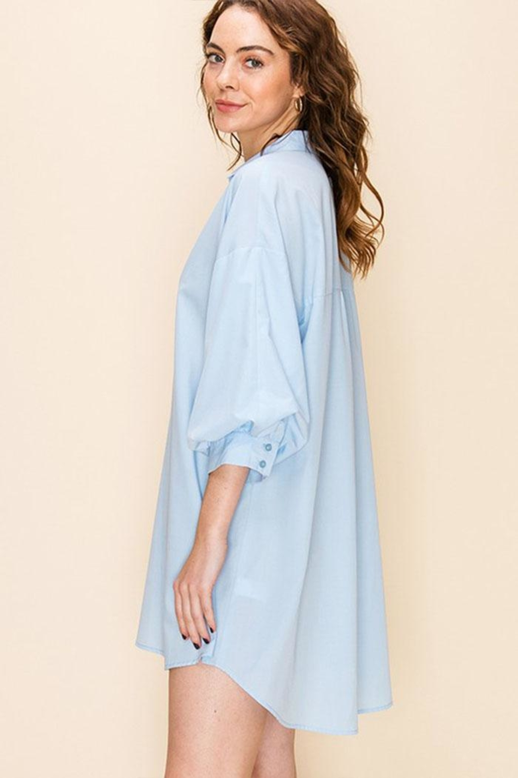Favlux Tunic Shirt Dress - Side Cropped Image
