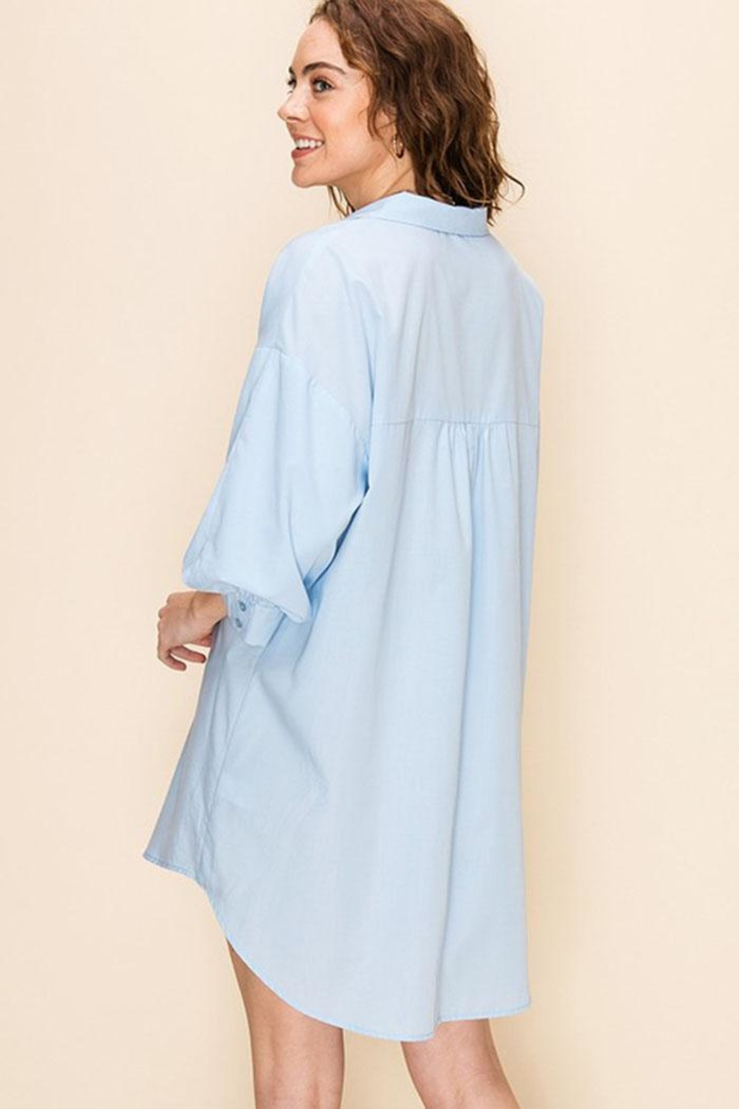 Favlux Tunic Shirt Dress - Back Cropped Image