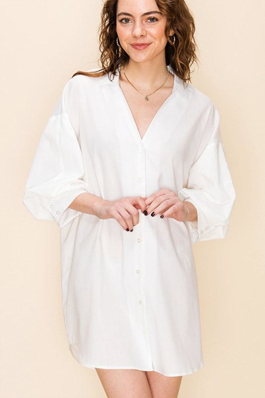 Favlux Tunic Shirt Dress - Front Cropped Image