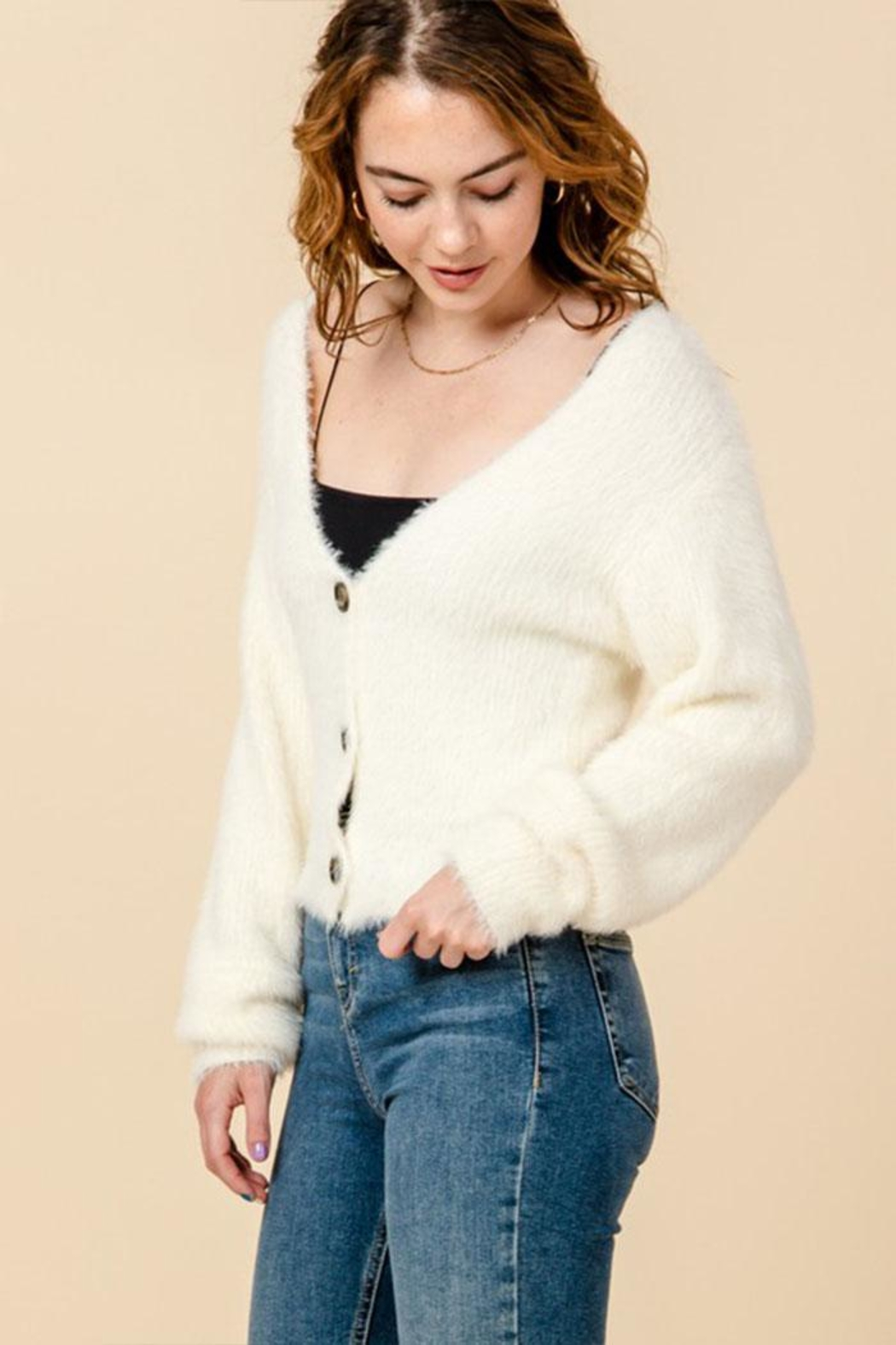 Favlux V-Neck Cropped Cardigan - Front Full Image