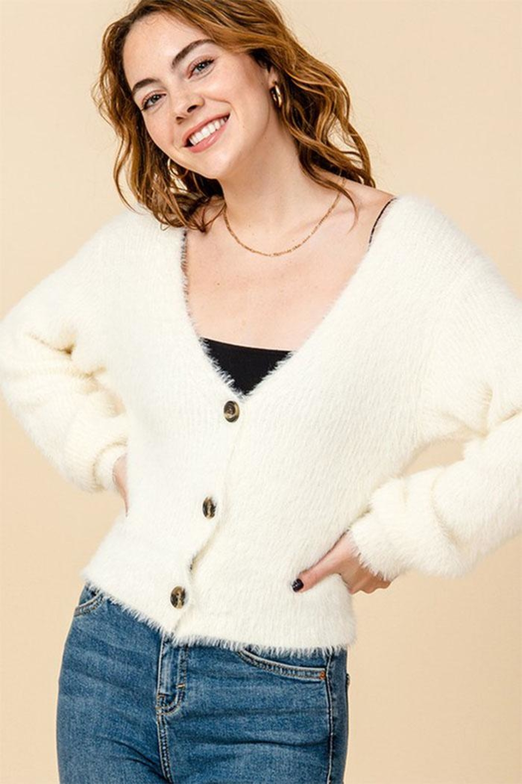 Favlux V-Neck Cropped Cardigan - Main Image