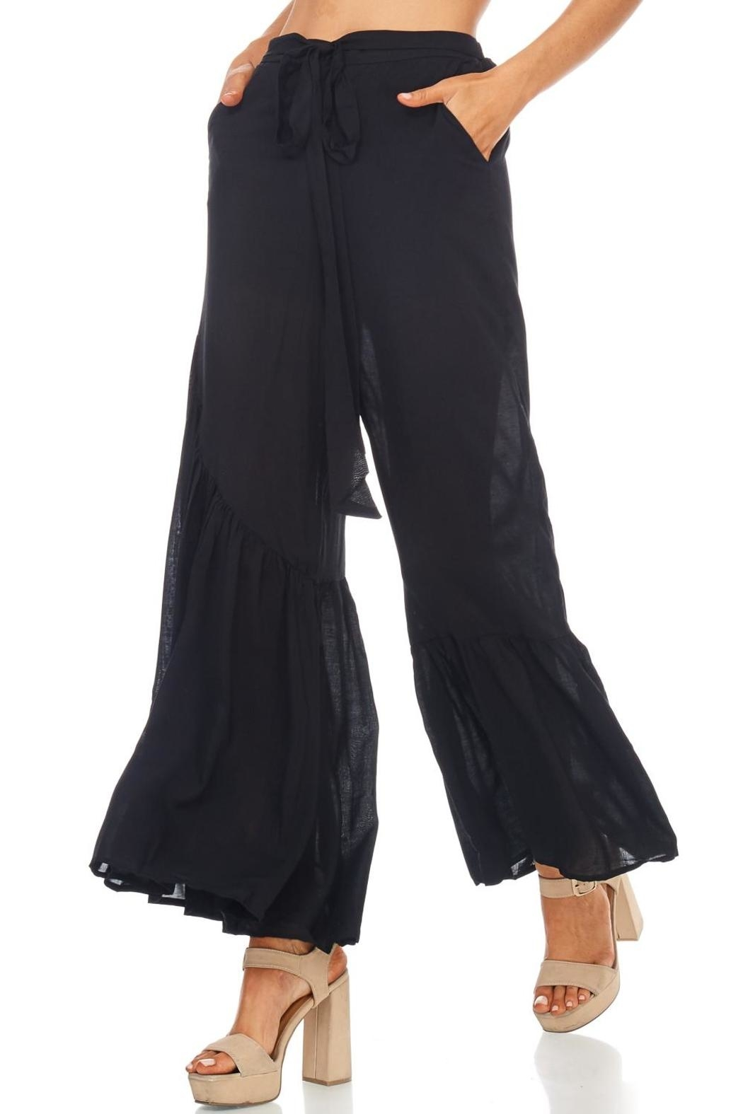 Favlux Wide Ruffle Leg Pants - Back Cropped Image