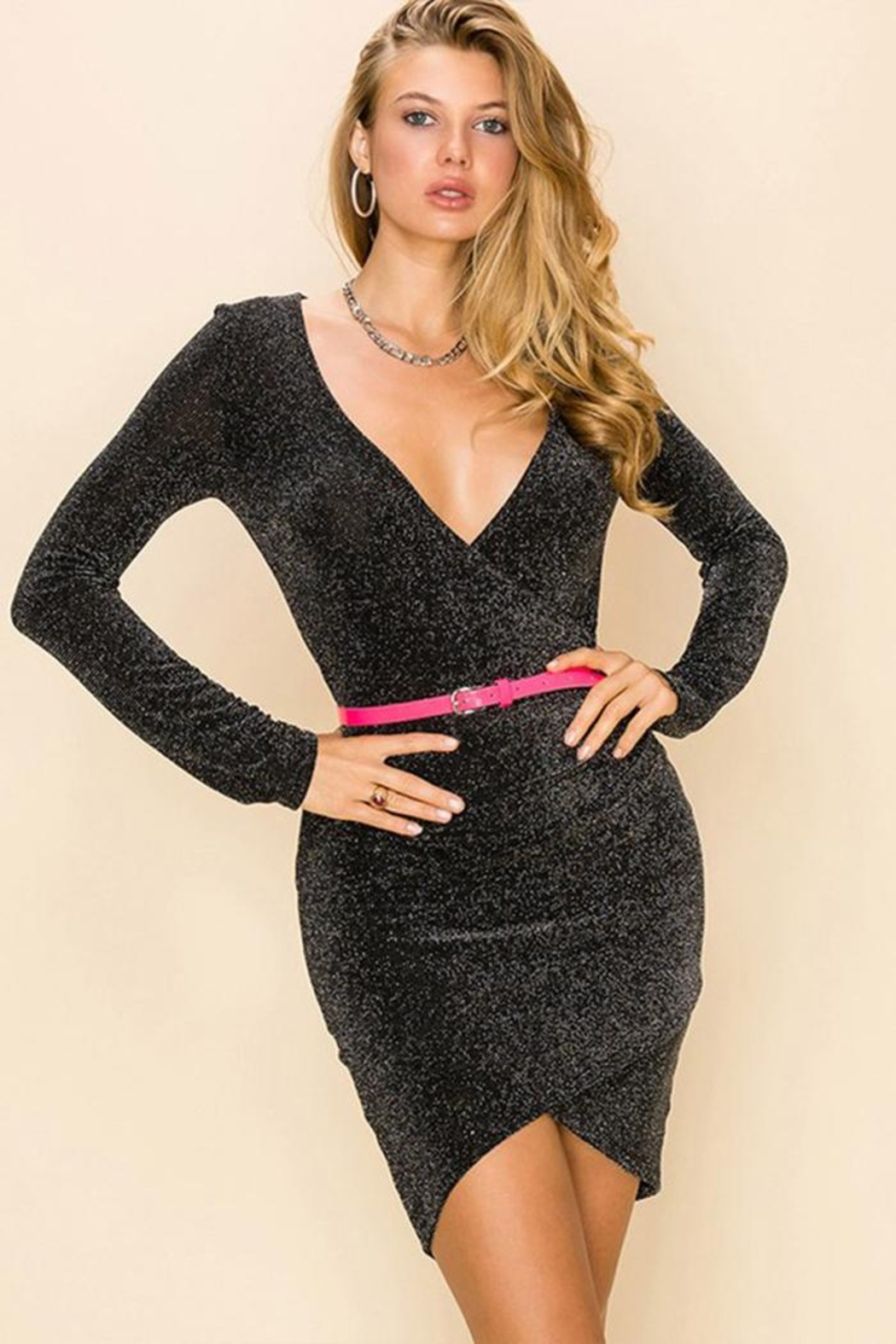 Favlux Wrap Glitter Dress - Front Cropped Image