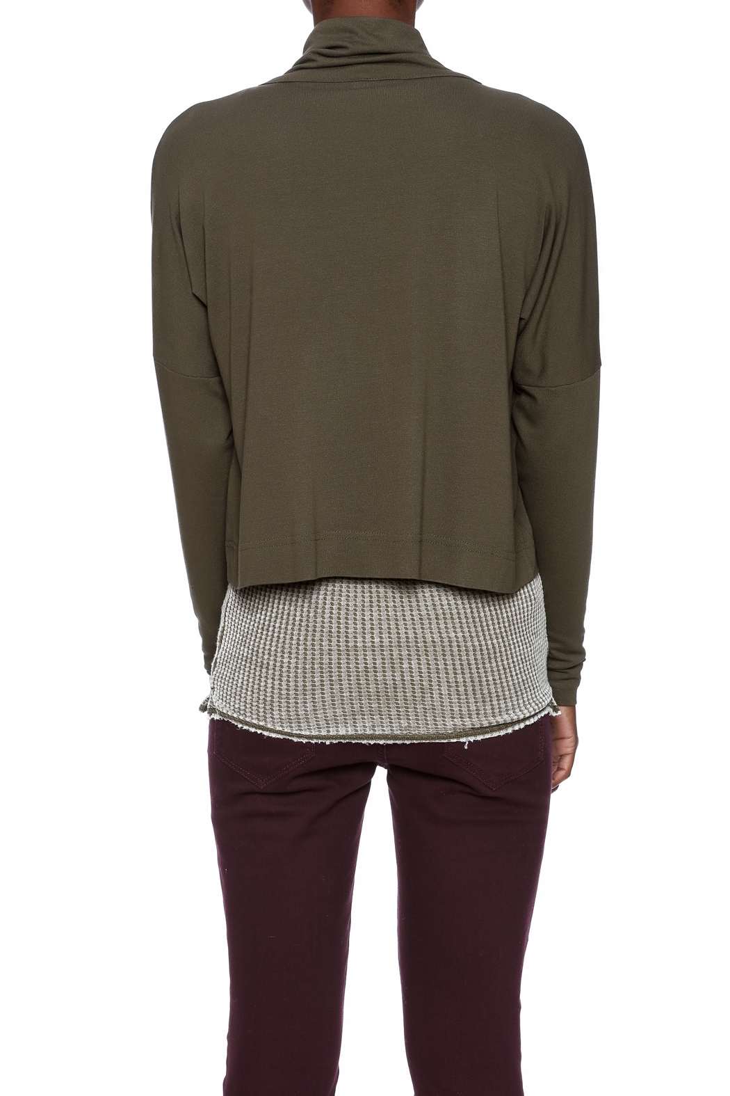 Favori Olive Cropped Jacket - Back Cropped Image