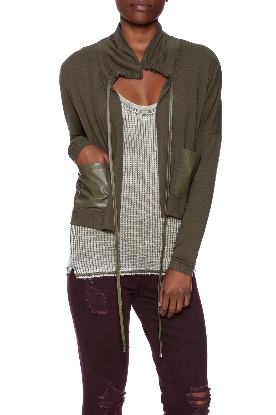 Favori Olive Cropped Jacket - Front Cropped Image