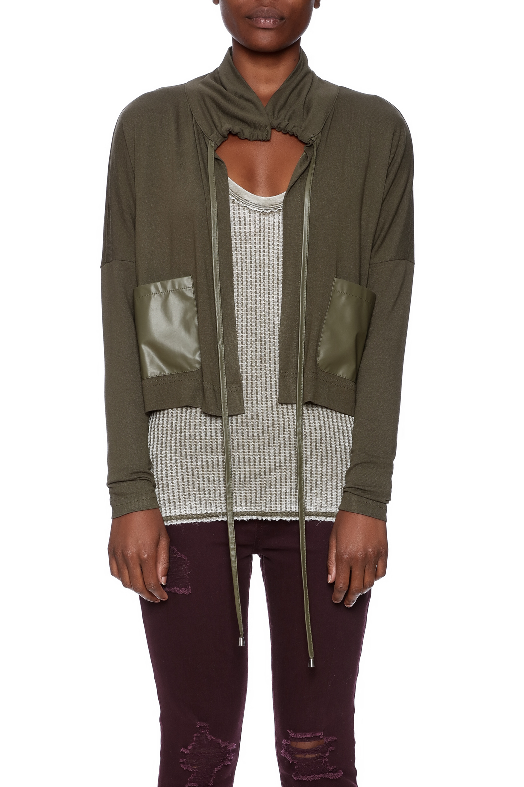 Favori Olive Cropped Jacket - Side Cropped Image