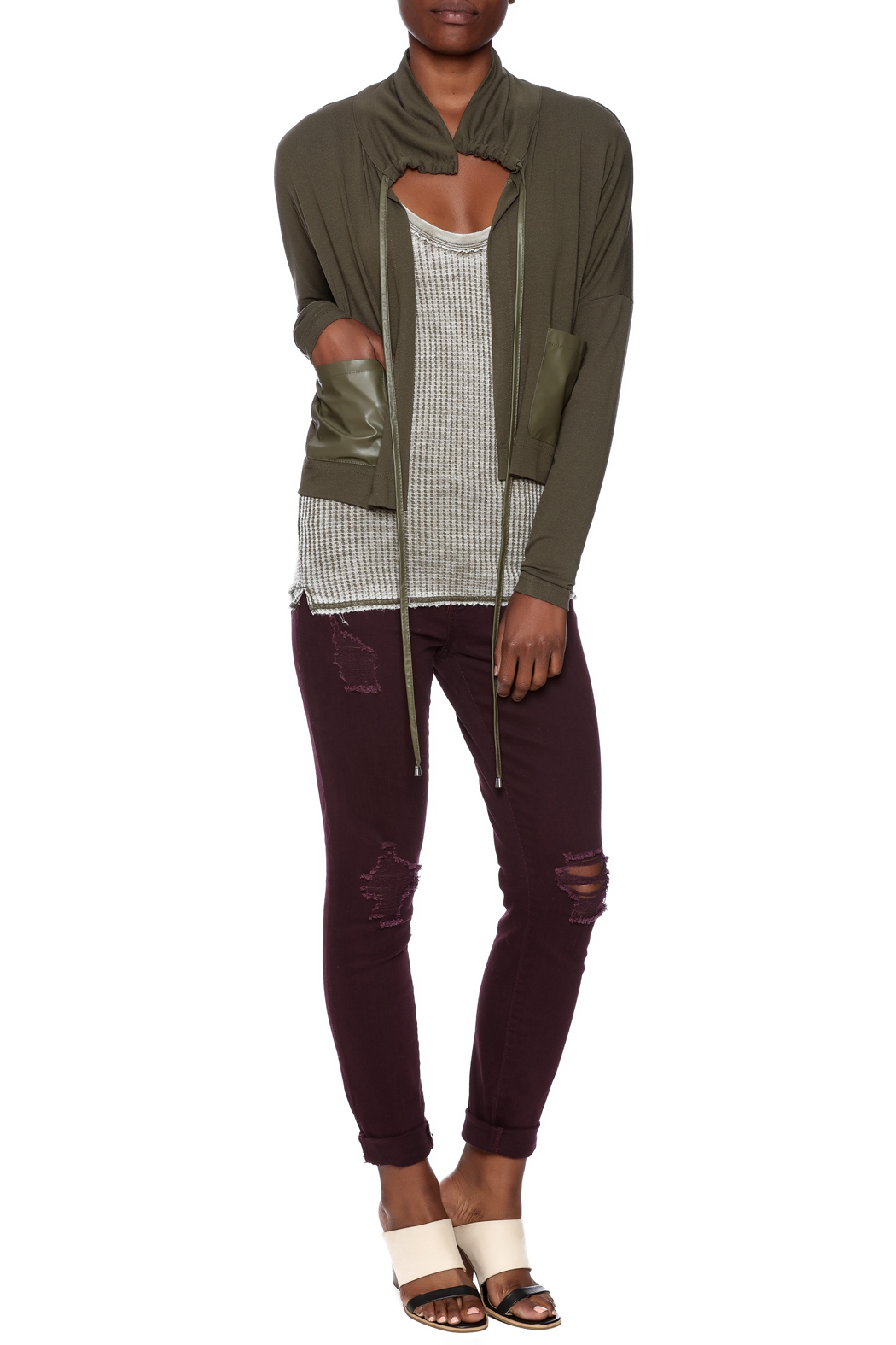 Favori Olive Cropped Jacket - Front Full Image
