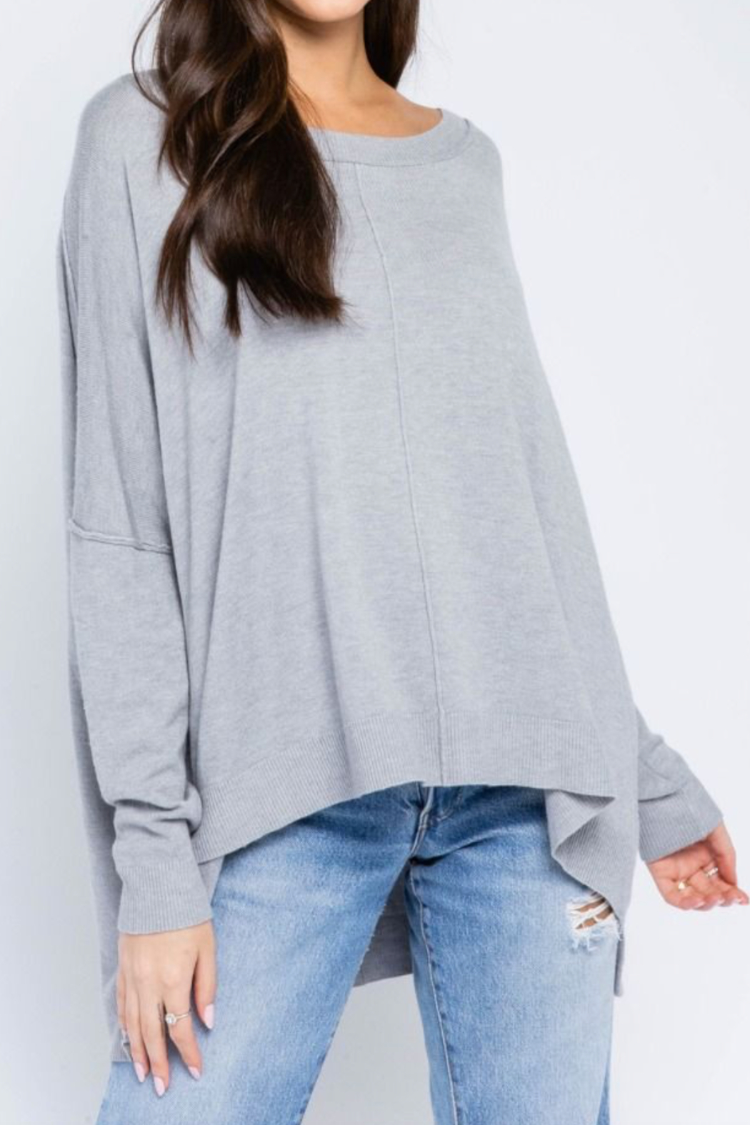 Olivaceous  Favorite Grey Sweater - Main Image