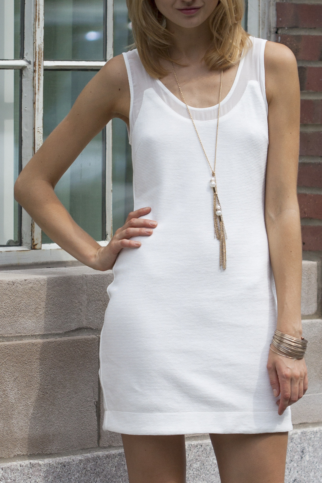 Aryn K White Scoop Neck Tank Dress - Front Cropped Image