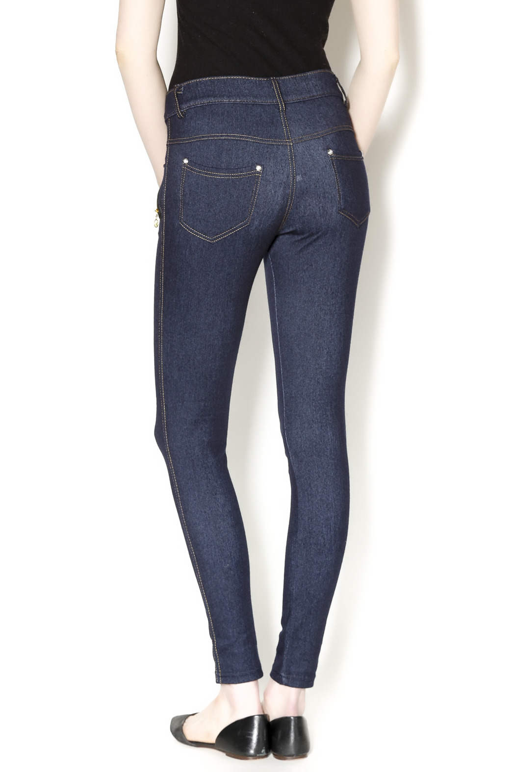Yelete Indigo Jeggings - Back Cropped Image