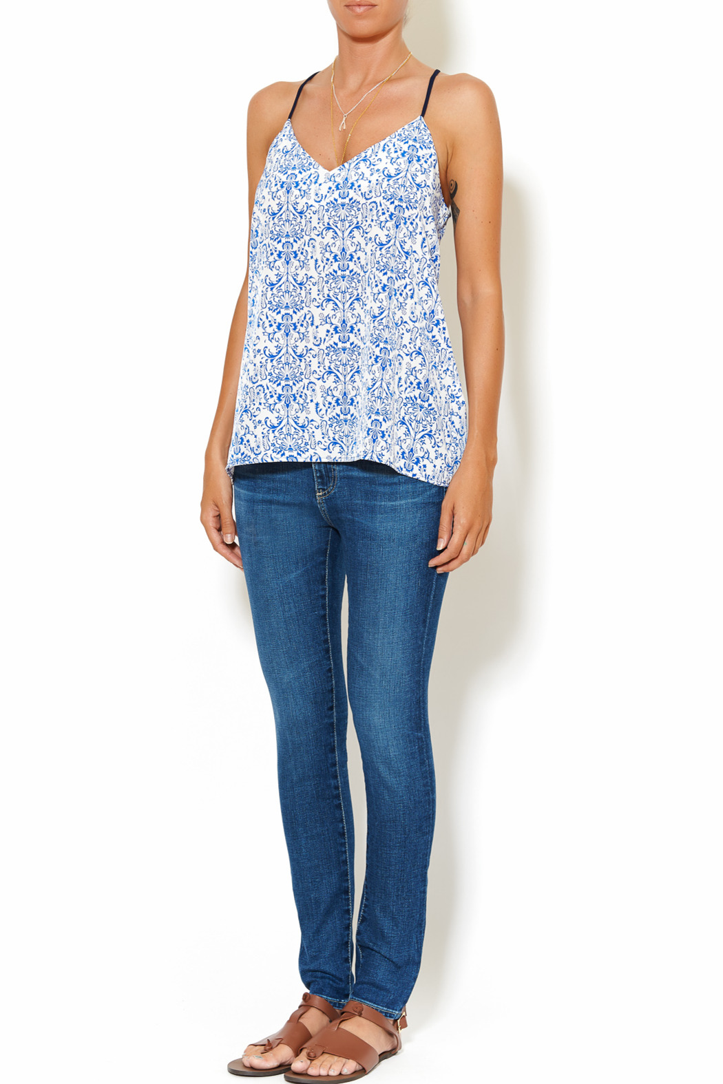 Chic Style Floral Resort Cami - Front Full Image
