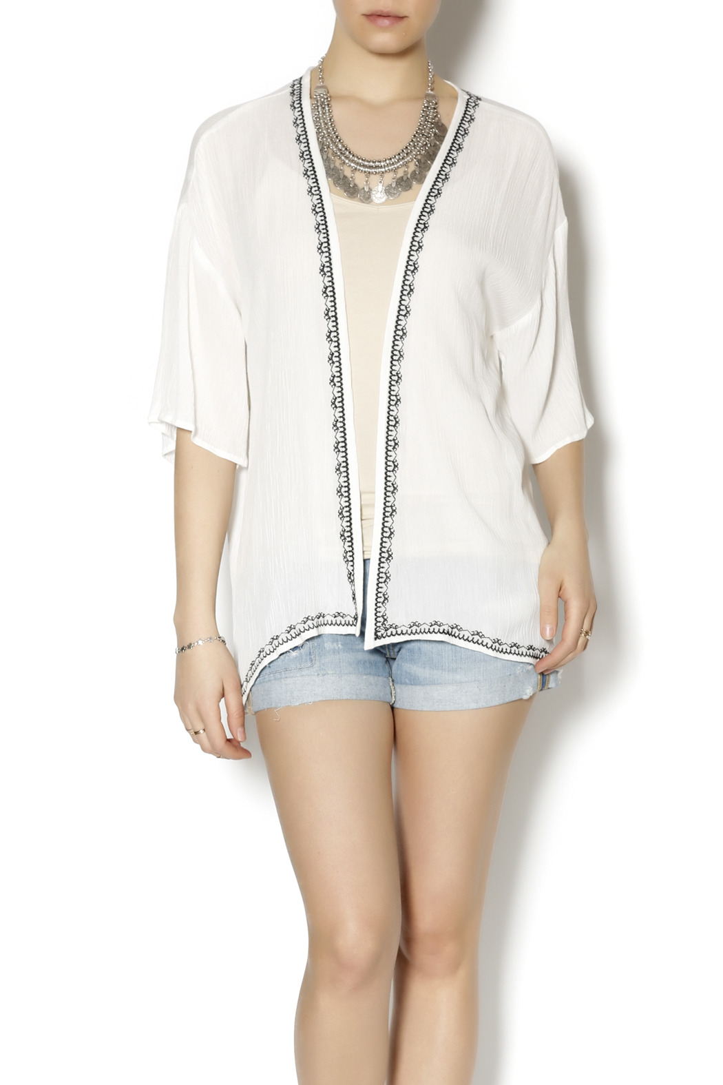 Blu Pepper Woven Open Cardi - Front Cropped Image