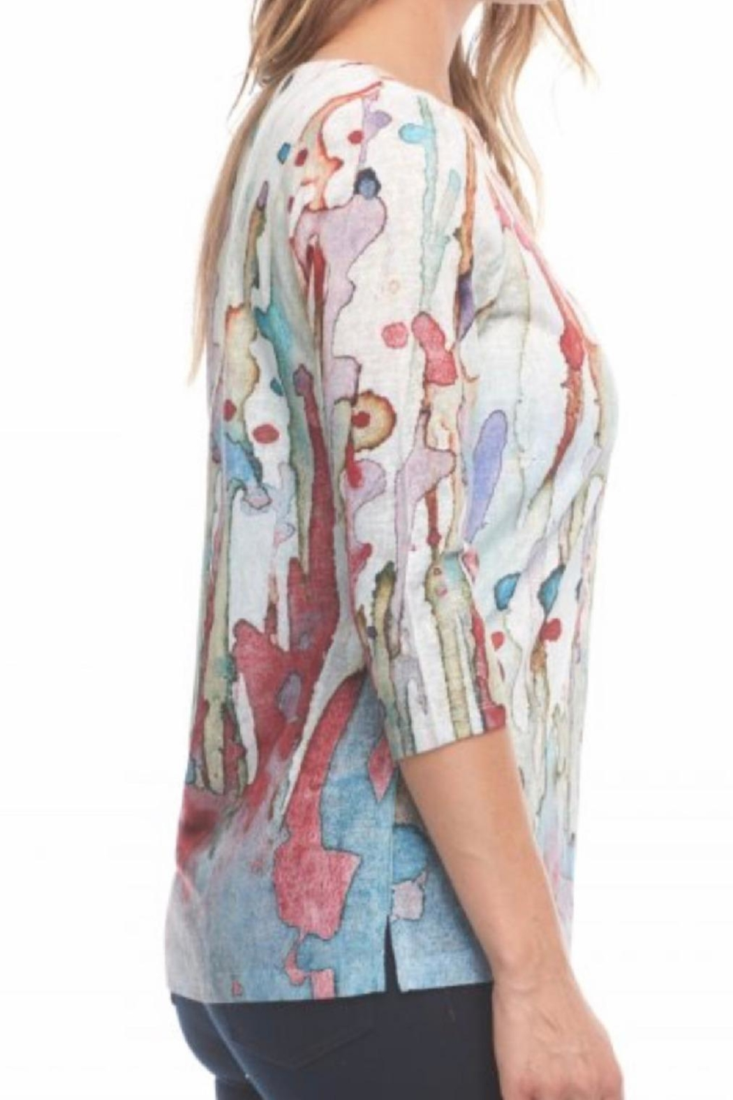 FDJ French Dressing Print Painted Top - Front Full Image