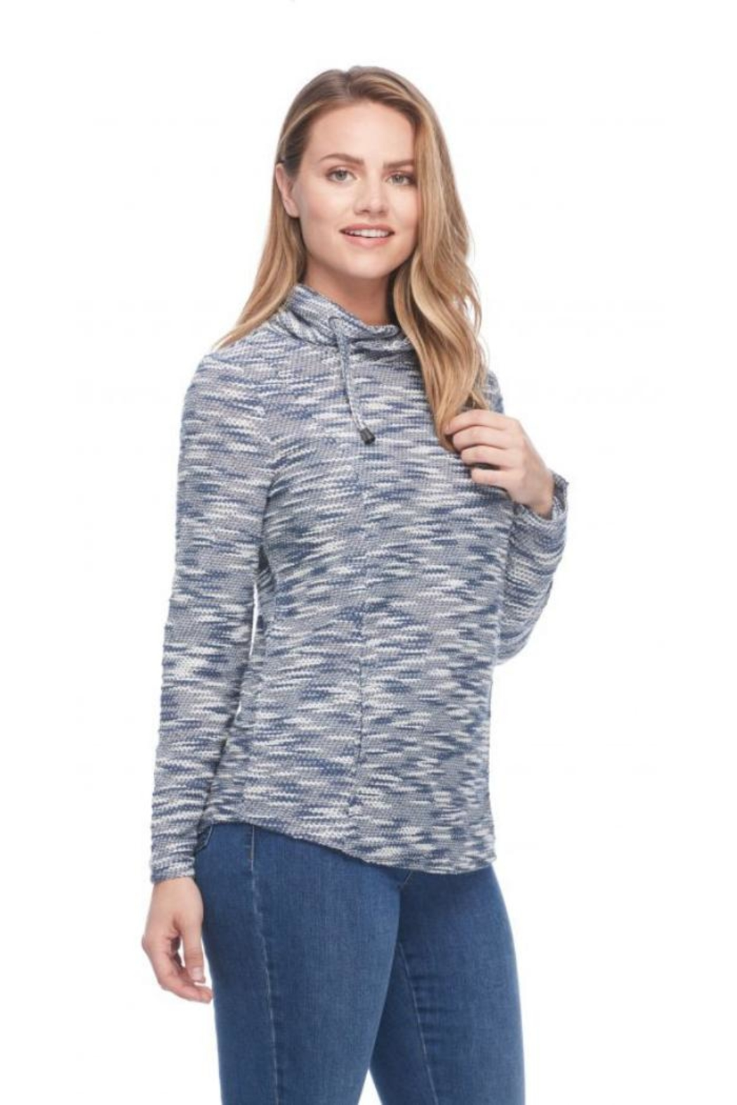 FDJ French Dressing Tweedy Funnel-Neck Top - Front Full Image