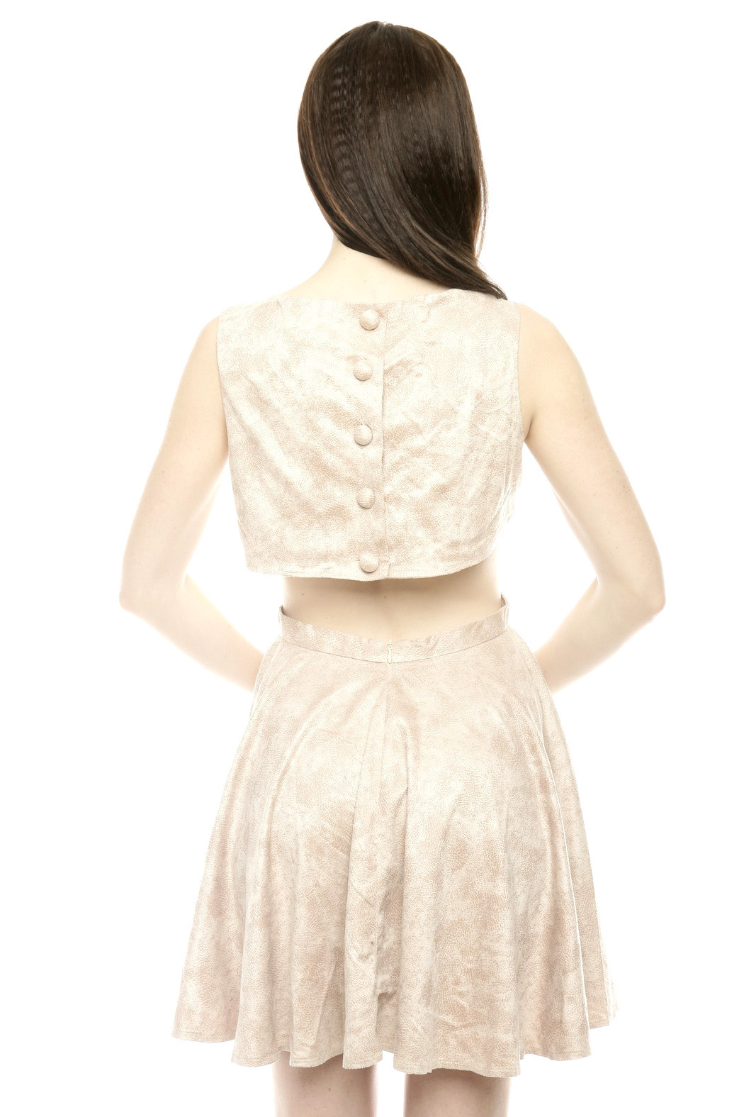 The Clothing Co BabyDoll Faux Leather Dress - Back Cropped Image