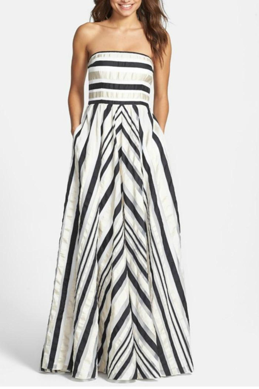 Adrianna Papell Ribbon Striped Dress - Front Full Image