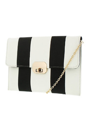 Melie Bianco Candy Striped Clutch - Front cropped