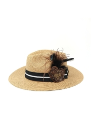 Nadya's Closet Feather Accent Panama-Hat - Product Mini Image